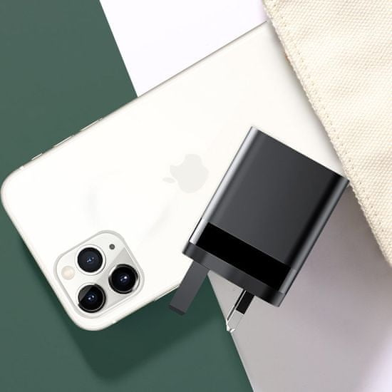 BASEUS Mirror Lake polnilnik za telefon PPS USB + USB Type C 18W QC