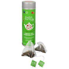 English Tea Shop Zelený čaj s granátovým jablkom 15 pyramidek sypaného čaju v plechovke