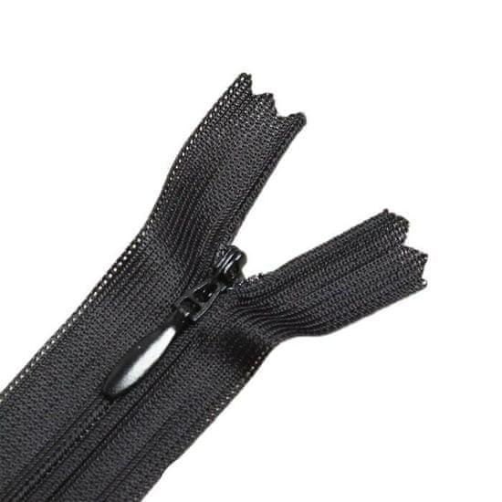 """Gamma 10 ks, skrytý zip """"spirála"""", č. 3, jednodílný, 60 cm, černý"""