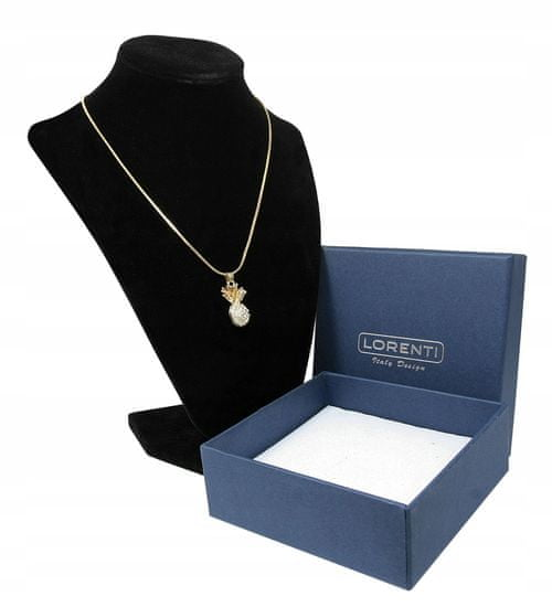Lorenti Dámský náhrdelník Ananas s kamínky, zlatý