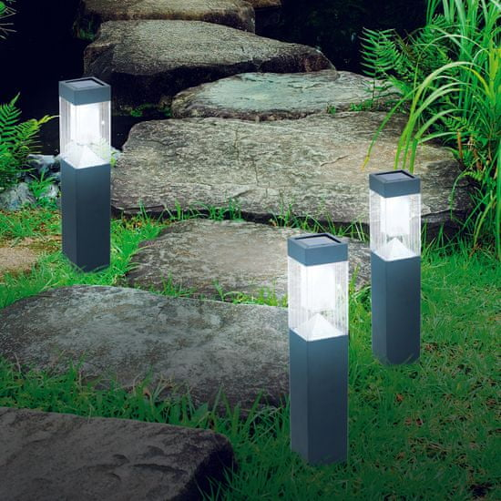 Grundig komplet solarnih luči, nerjaveče jeklo, 2 LED, 1x AAA, 600 mAh, 3 kosi
