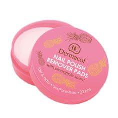 Dermacol Odlakovacie tampóny na nechty s vôňou ananásu (Nail Polish Remover Pads) 32 ks