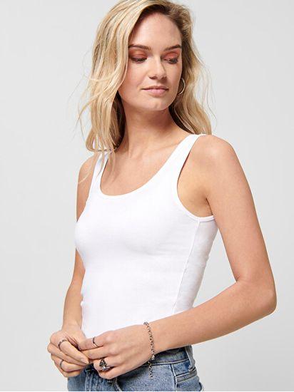 ONLY Ženska majica brez rokavov ONLLIVE LOVE LIFE 15095808 White