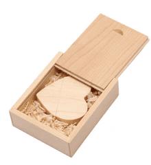 CTRL+C Pendrive drewniany SERCE + pudelko KLON, 32 GB, USB 3.0/3.1