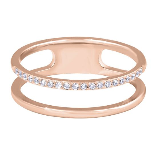 Troli Dupla minimalista acél gyűrű Rose Gold