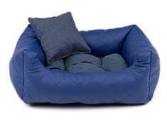 Vsepropejska Delux modrý kožený pelech pro psa s polštářkem Rozměr: 55 x 45 cm