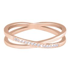 Troli Pozlacený dvojitý prsten z oceli s čirými zirkony Rose Gold (Obvod 47 mm)