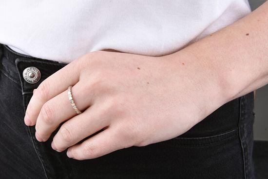 Troli Designový pozlacený prsten z oceli s čirými zirkony Rose Gold