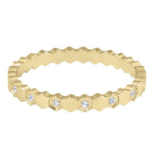 Troli Designový pozlacený prsten z oceli s čirými zirkony Gold
