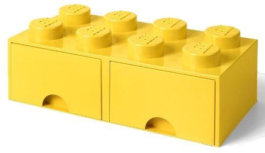 LEGO škatla za shranjevanje kock z 2 predaloma, rumena - Odprta embalaža