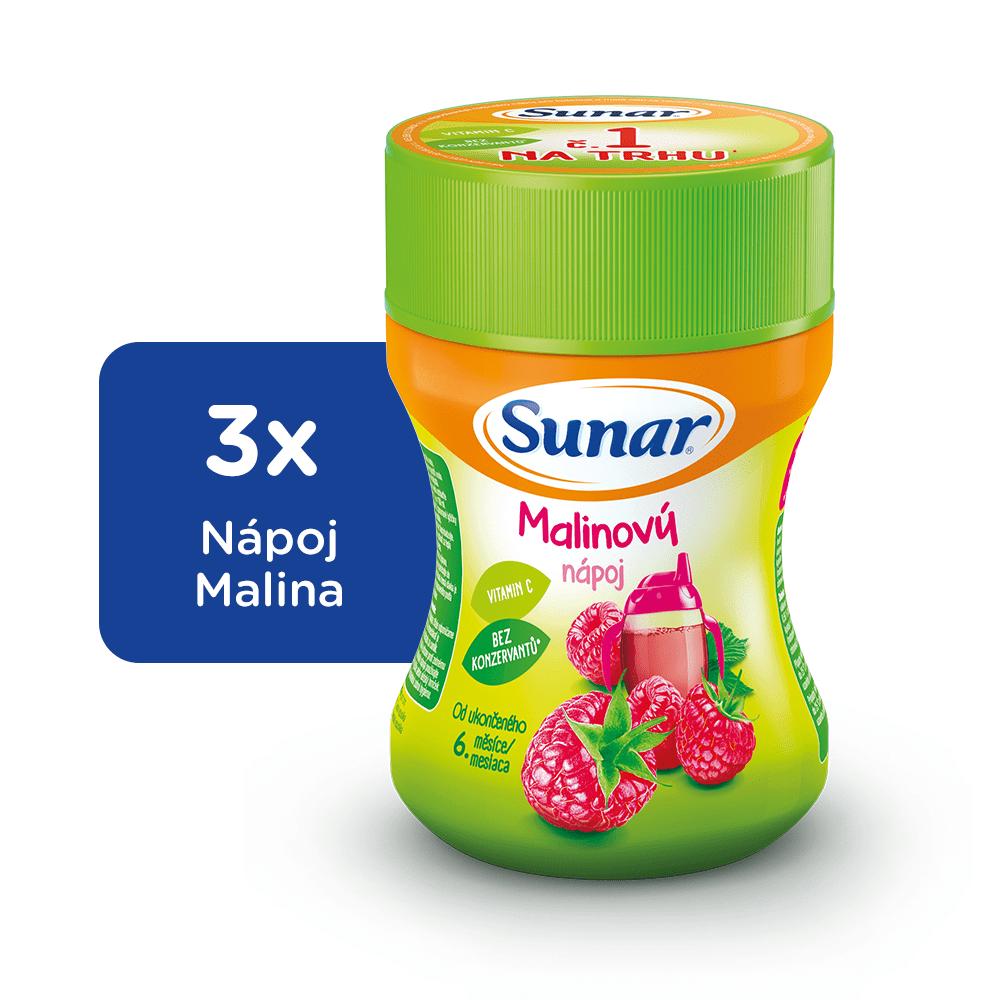 Sunar Rozpustný nápoj malinový 3x200g