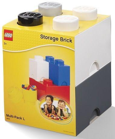 LEGO Multi-Pack škatle za shranjevanje s 4 kosi, črna, bela, siva