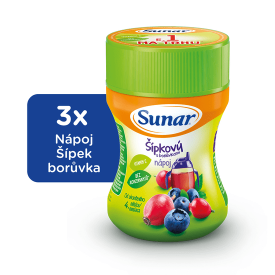 Sunar rozpustný nápoj šípkový s čučoriedkami 3x200g