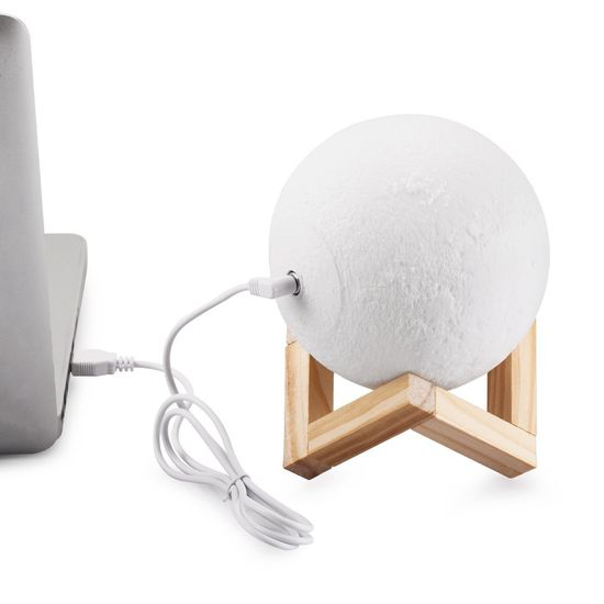 megamiska Namizna 3D USB LED polnilna svetilka luna 2700K-6500K s stikalom na dotik