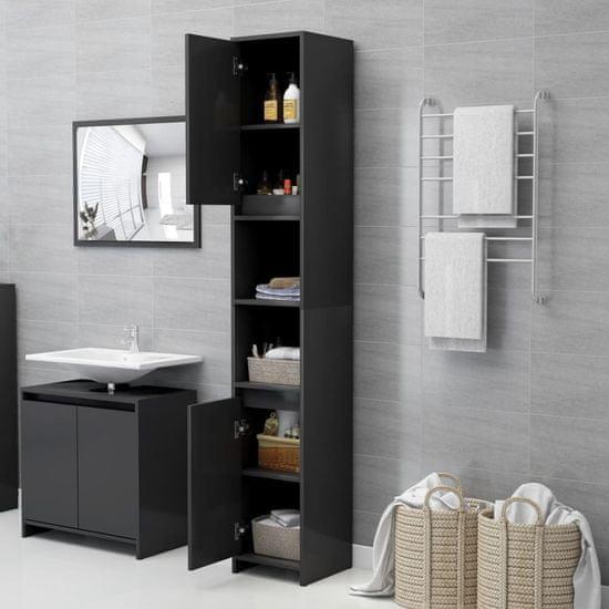 Greatstore 3-dielna súprava kúpeľňového nábytku, sivá, drevotrieska