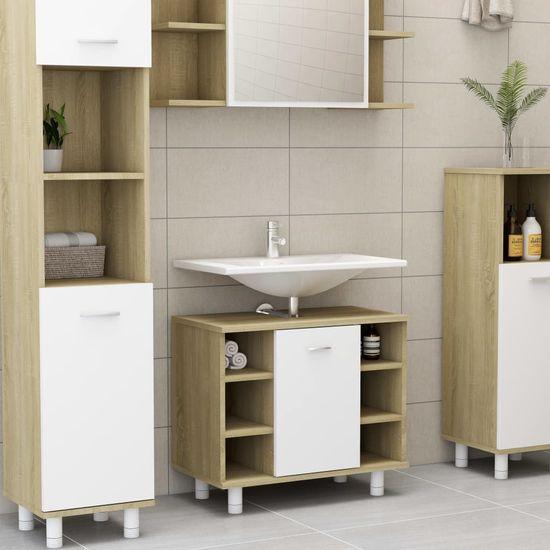 shumee 3 részes fehér-sonoma színű forgácslap fürdőszobai bútorszett