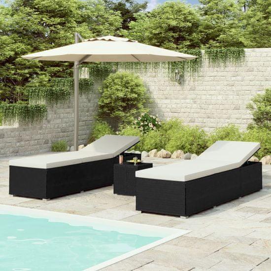 shumee 3-częściowy zestaw, leżaki ze stolikiem, polirattan, czarne
