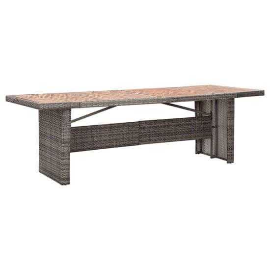 shumee Vrtna miza 240x90x74 cm poli ratan in trden akacijev les