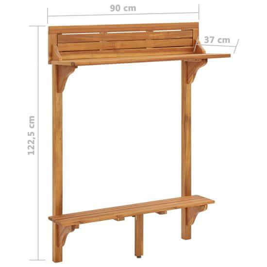 shumee tömör akácfa erkély bárasztal 90 x 37 x 122,5 cm