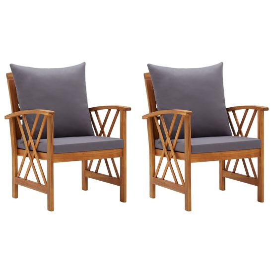 shumee Vrtni stoli z blazinami 2 kosa trden akacijev les