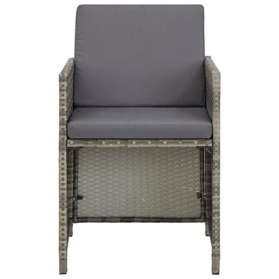 shumee Krzesła ogrodowe z poduszkami, 2 szt., polirattan, szare
