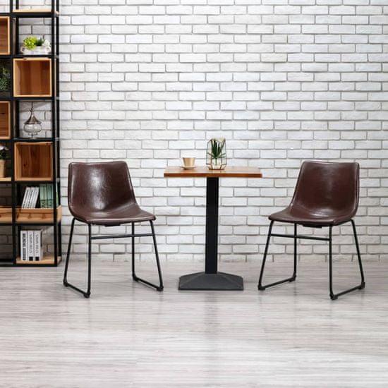 shumee Jedilni stoli 2 kosa sijoče rjavo umetno usnje