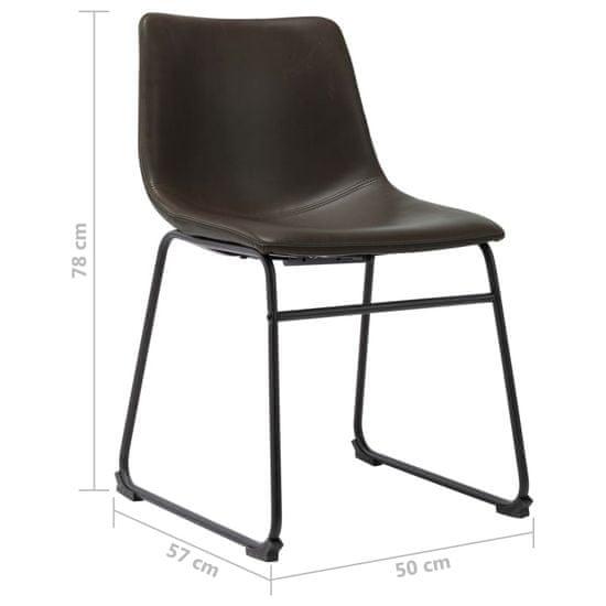 shumee Jedilni stol temno rjavo umetno usnje