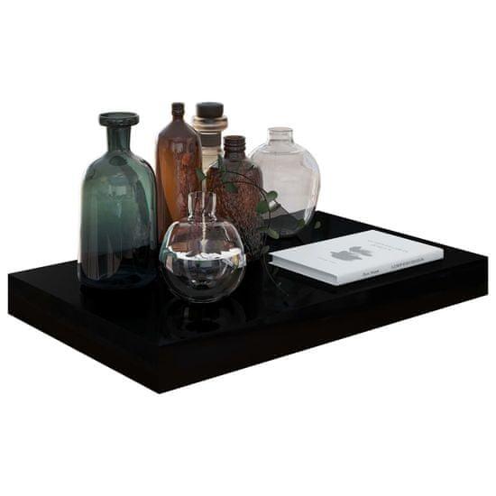 shumee Półki ścienne, 4 szt., czarne, wysoki połysk, 40x23x3,8 cm, MDF