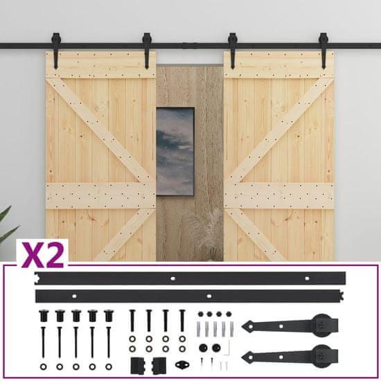 shumee Drsna vrata s kompletom vodil 80x210 cm trdna borovina