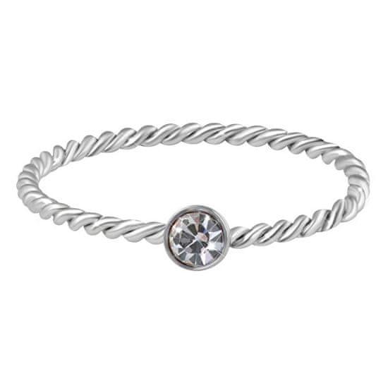 Troli Něžný kroucený prsten z oceli s čirým zirkonem Silver