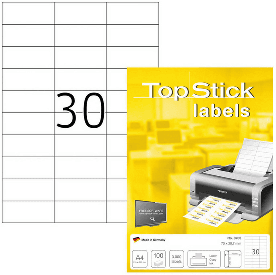 Herma Top Stick 8703 etikete, 70 x 29,7 mm, bele, 100/1