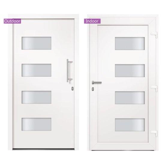 shumee Drzwi zewnętrzne, aluminium i PVC, białe, 110x210 cm