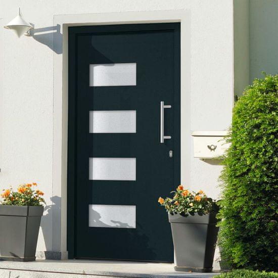 shumee Drzwi frontowe, aluminium i PVC, antracytowe, 100x210 cm