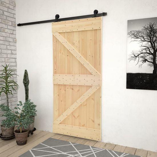 shumee Drsna vrata s kompletom vodil 90x210 cm trdna borovina