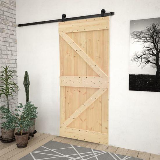 shumee Drzwi przesuwne z osprzętem, 80x210 cm, lite drewno sosnowe