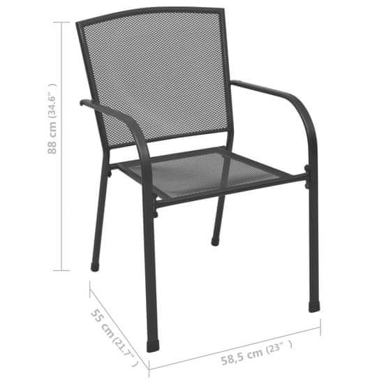 shumee Zunanji stoli 4 kosi mrežast dizajn antracitno jeklo