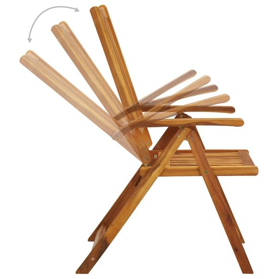 shumee Składane krzesła ogrodowe z poduszkami, 3 szt., drewno akacjowe