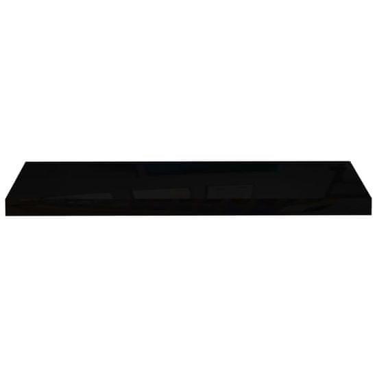 shumee Półki ścienne, 4 szt., wysoki połysk, czarne, 80x23,5x3,8 cm