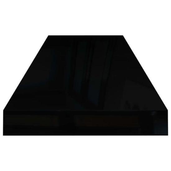 Greatstore Stenske police 4 kosi visok sijaj črne 80x23,5x3,8 cm MDF