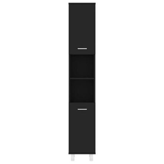 Greatstore Skrinka do kúpeľne, čierna 30x30x179 cm, drevotrieska