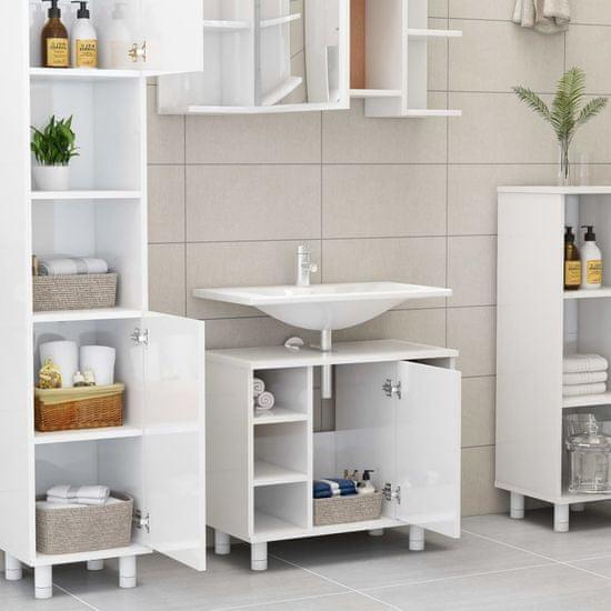 Greatstore 3-dielna súprava kúpeľňového nábytku,lesklá biela, drevotrieska