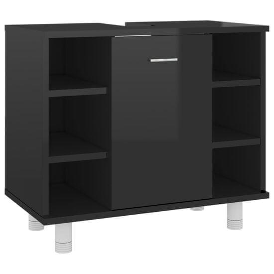 shumee Kopalniška omarica visok sijaj črna 60x32x53,5 cm iverna plošča