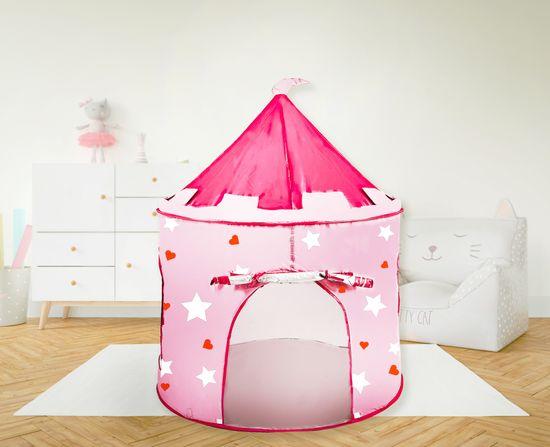 Aga4Kids Otroški igralni šotor Castle Grey-Pink