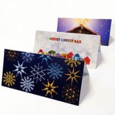 tvorme Zatváracia vianočná pohľadnica s obálkou - Vločky, ch03