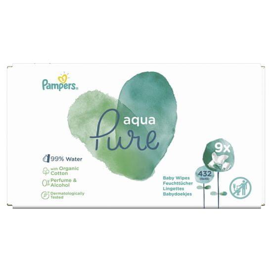 Pampers vlažilni robčki Aqua Pure, 9x 48 kosov