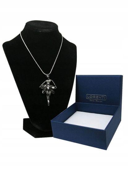 Lorenti Dámský náhrdelník Baletka s kamínky, stříbrná