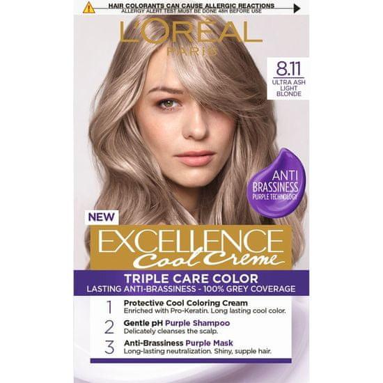 Loreal Paris Excellence barva za lase, Ultra Ash Light Blonde 8.11