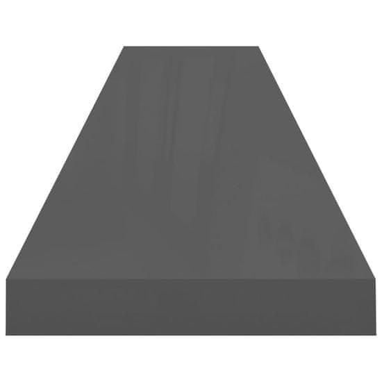 shumee Stenske police 2 kosa visok sijaj sive 120x23,5x3,8 cm MDF
