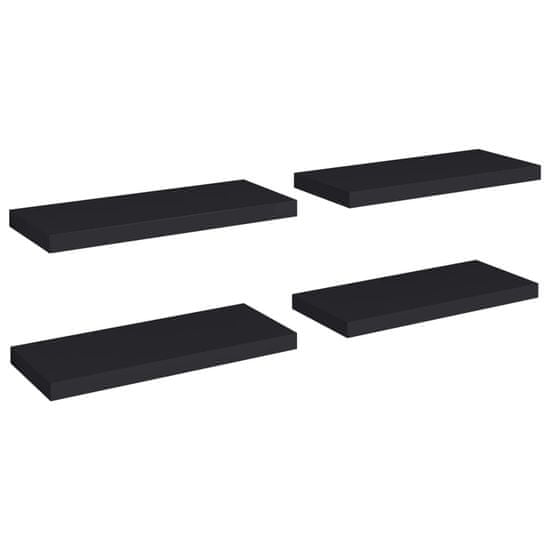 shumee Półki ścienne, 4 szt., czarne, 60x23,5x3,8 cm, MDF