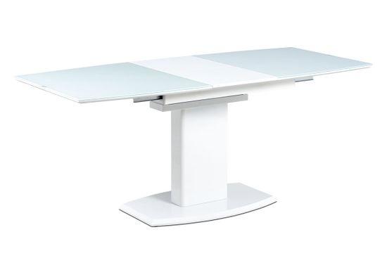 ATAN Jídelní stůl AT-4012 WT - 140+40x80 cm, bílé sklo + bílá MDF